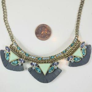 Silpada brass, leather, Swarovski crystal necklace